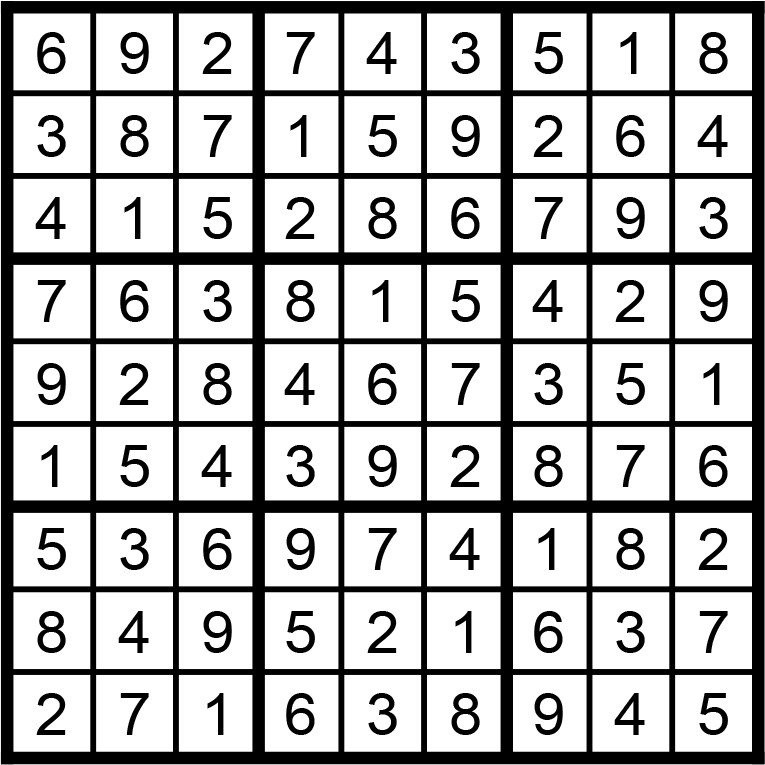 Facit till lätt sudoku i nr 1 2021