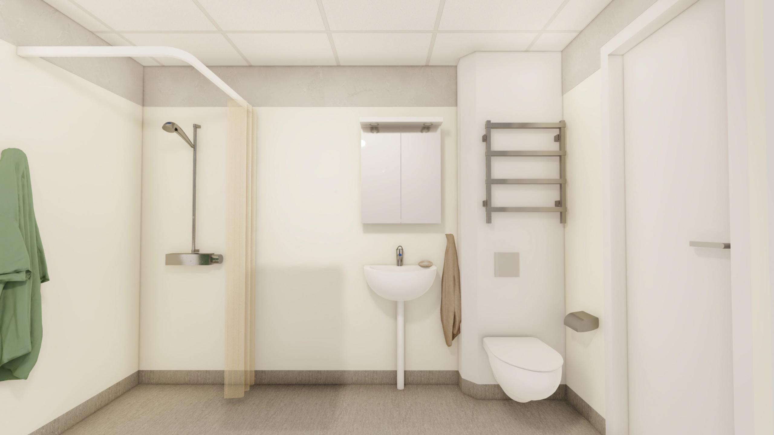 """Illustration på val """"1 Bas WC/D"""", duschrum"""