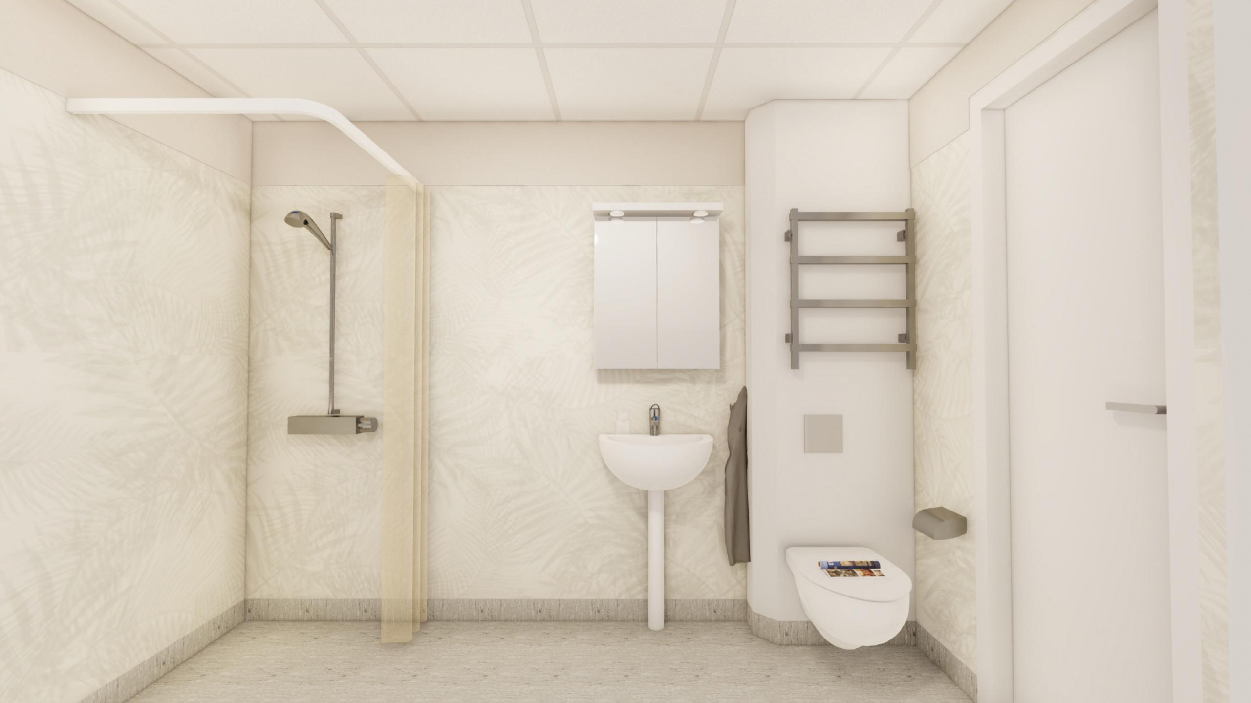 """Illustration på val """"2 Bas WC/D"""", duschrum"""