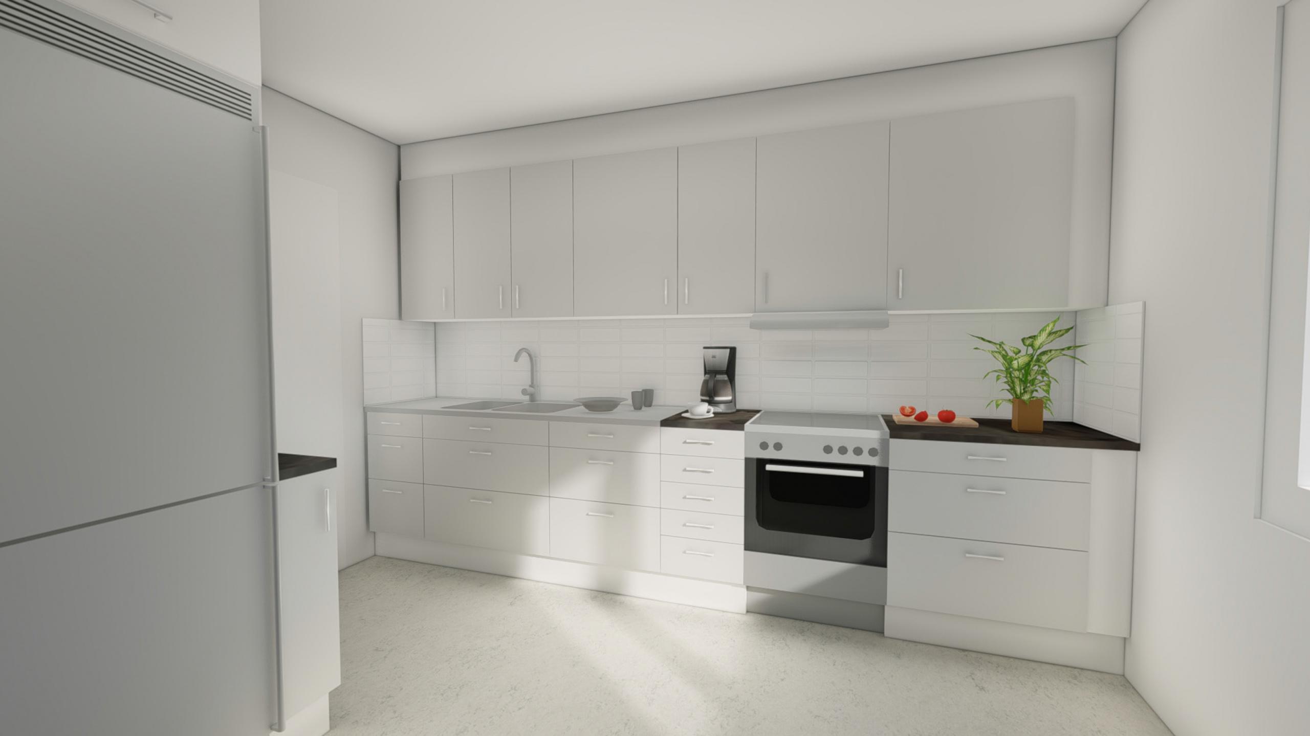 """Illustration av ett ljust kök med rostfria vitvaror enligt """"Val 3 Bas+, kök"""""""