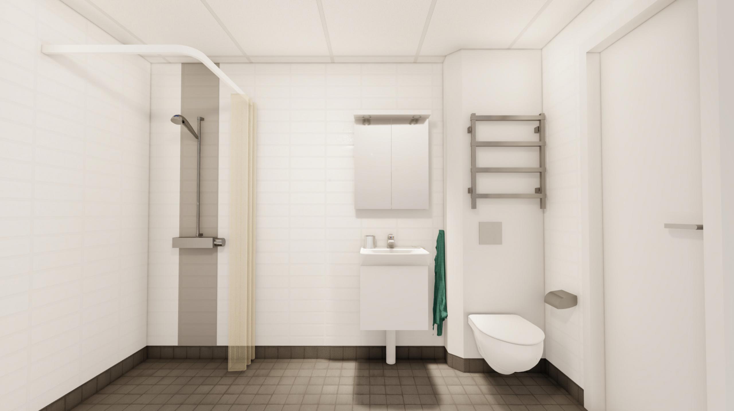 Duschrum med hängande WC, handdukstork, och spegelskåp med belysning och eluttag.