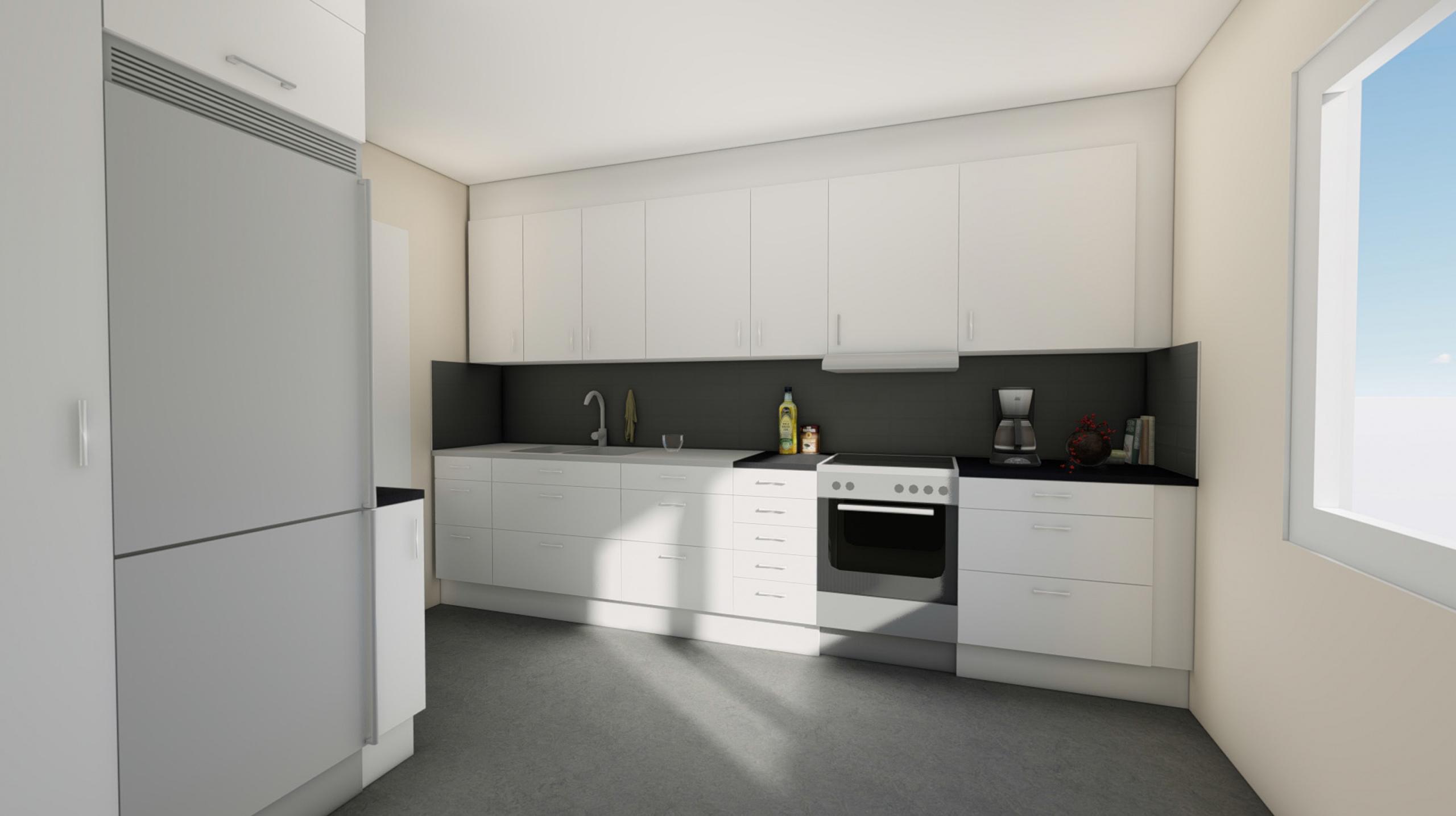 Kök med grå plastmatta, rostfria vitvaror, ljusa skåpluckor och rostfria handtag.