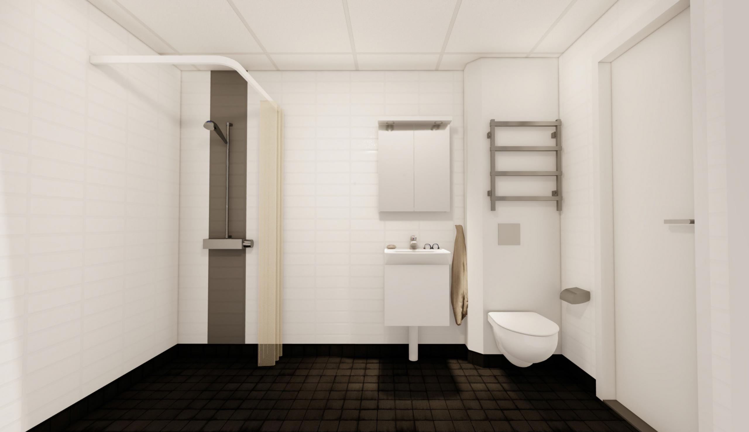 Ljust duschrum med svart kaklat golv, handdukstork, spegelskåp med belysning och eluttag.