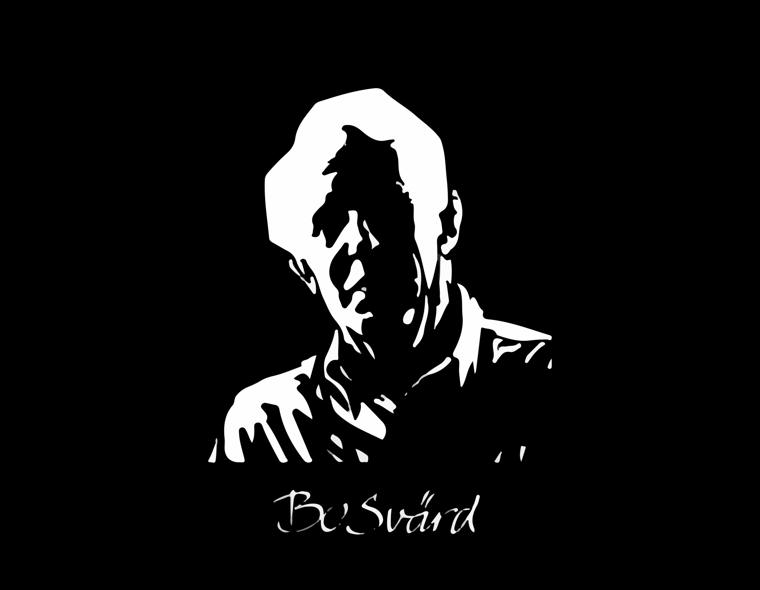 En svartvit skuggbild av en äldre man mot en svart bakgrund.