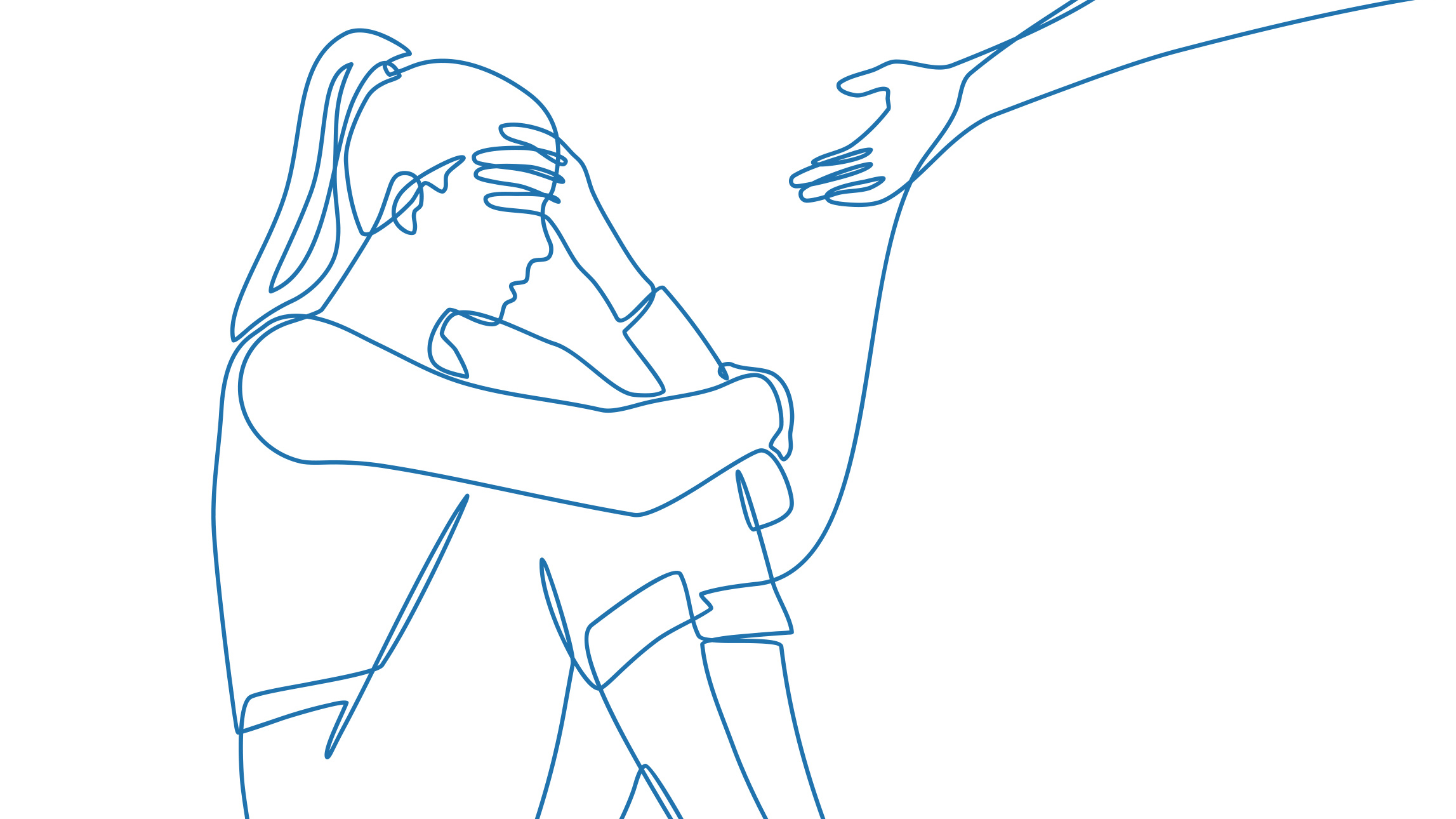 En hand sträcks ut till en kvinna som sitter ned med ett bedrövat kroppsspråk