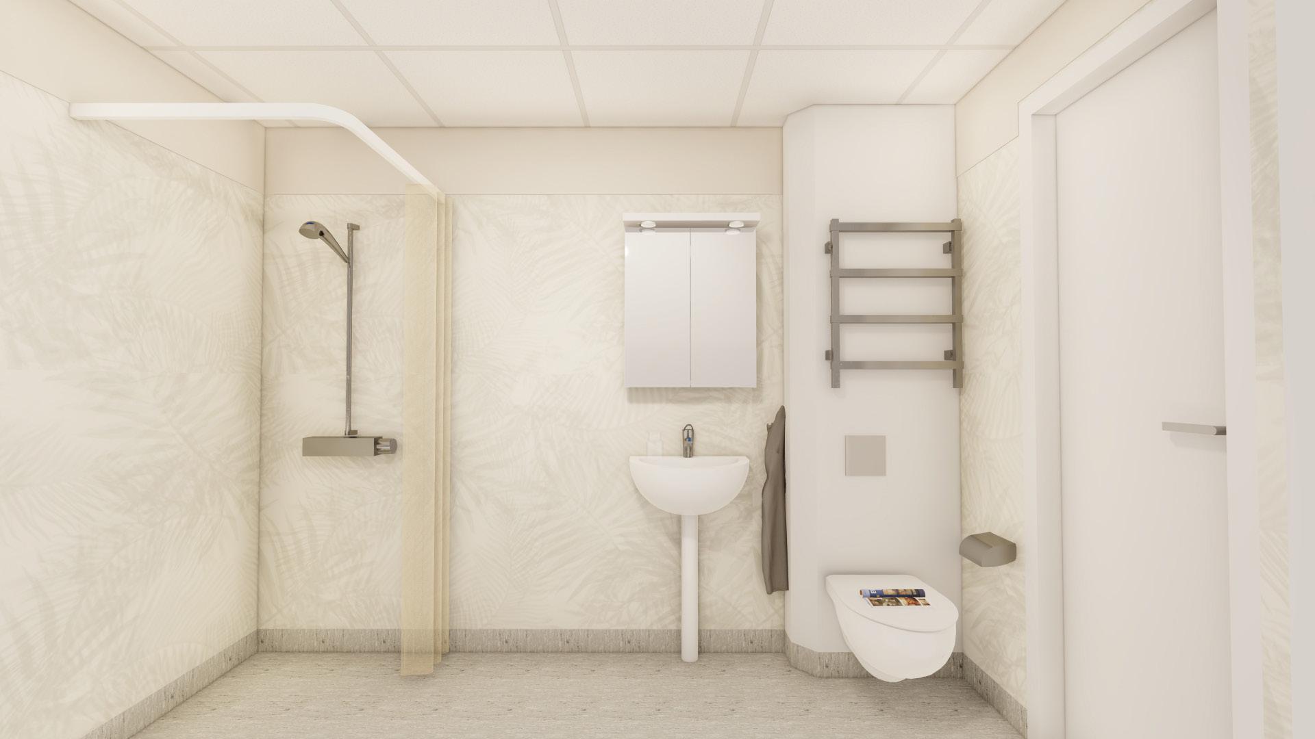 Bild på ljust badrum med vitt tvättställ och WC